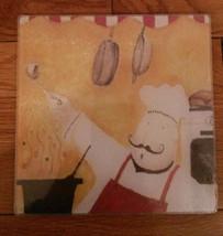 "FAT CHEF Glass Cutting board / Hot Plate / Trivet / Cheese board, 8"" Square, NEW - $12.99"