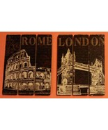 London Rome Wooden Plaque 2-pc Set 9x7 Sign Wood Wall Art NEW - $11.99