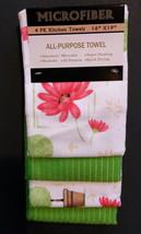 Flowers design KITCHEN TOWEL SET 4-piece Mediterranean Garden Red Green NEW