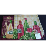 WINE TAPESTRY PLACEMATS Set of 4 Red White Wine Bottles Grapes Fabric 13... - $14.99