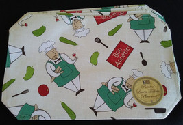 FAT CHEF FABRIC PLACEMATS Set of 4 Linen 12x18 Bon Appetit Wine Cook NEW - $14.99