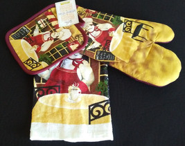 FAT CHEF COFFEE KITCHEN SET 3pc Towel Mitts Burgundy Red Bistro Cafe Tim... - $11.99