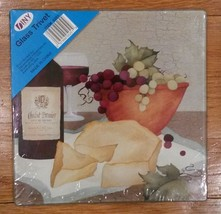 "Wine theme Trivet  Hot Plate  Kitchen Board Cheese Grapes 7"" square NEW - $9.75"