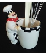 FAT CHEF UTENSIL HOLDER Ceramic Pot with Whisk Spoon Spatula Black White... - $13.99