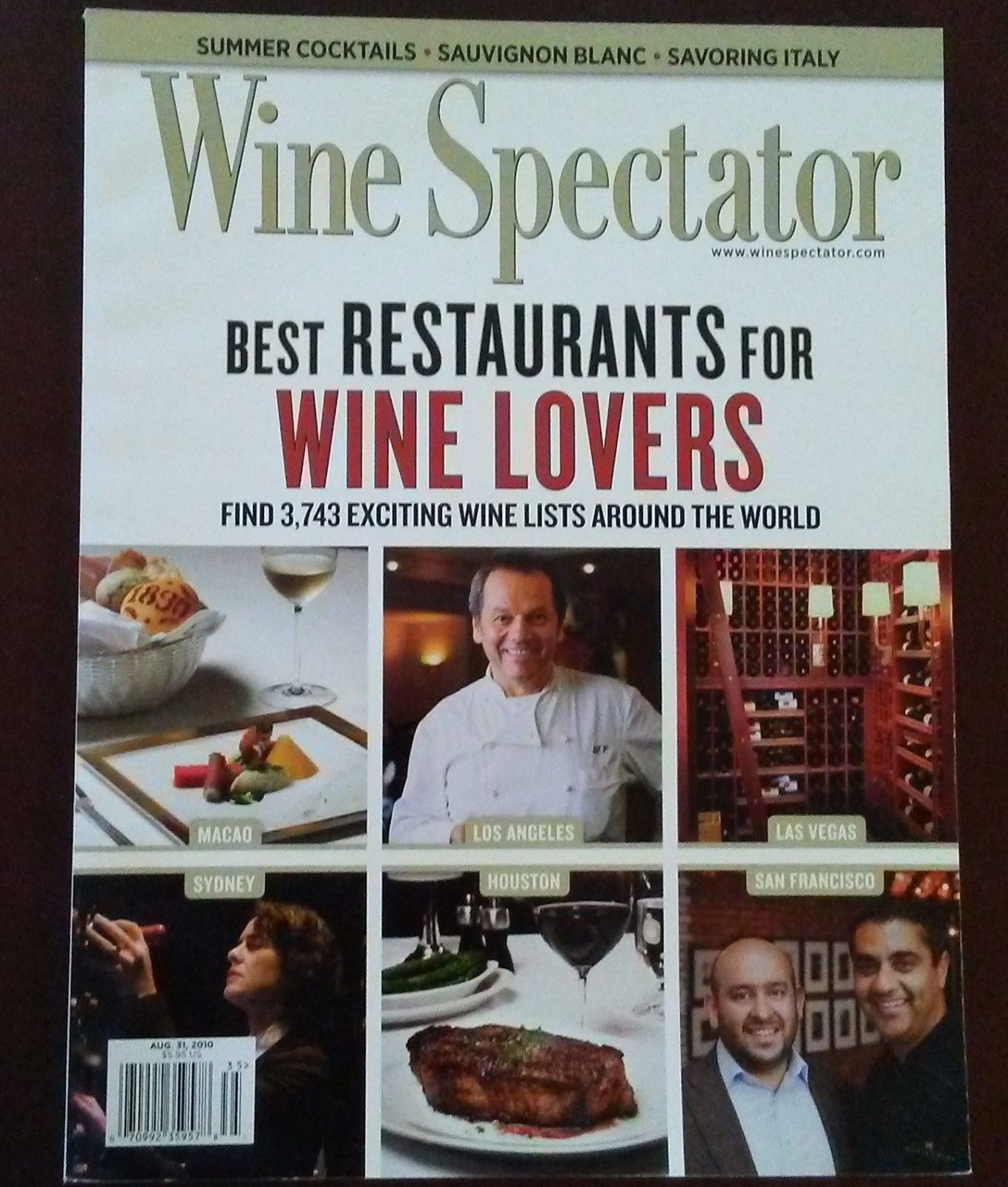 WINE SPECTATOR MAGAZINE August 2010 Best Restaurants for Wine Lovers