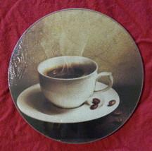 "Coffee Cutting Board Glass Trivet Cheese Board 8"" Round New - $7.99"