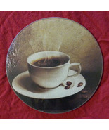 "COFFEE CUTTING BOARD Glass Kitchen Trivet Cheese board Hot Plate 8"" Round - $12.99"