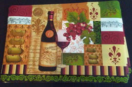WINE theme PLACEMATS Set of 4 Fleur de Lis Tuscan decor Bottle Grapes Vi... - $14.99