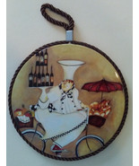 FAT CHEF PLAQUE TRIVET Wall Hanging Hot Plate Wine Cook on Bicycle NEW - $12.99