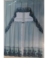 WINE KITCHEN CURTAIN SET 3-pc Swag and Panels Red Wine Bottles Fruit Gra... - $14.99