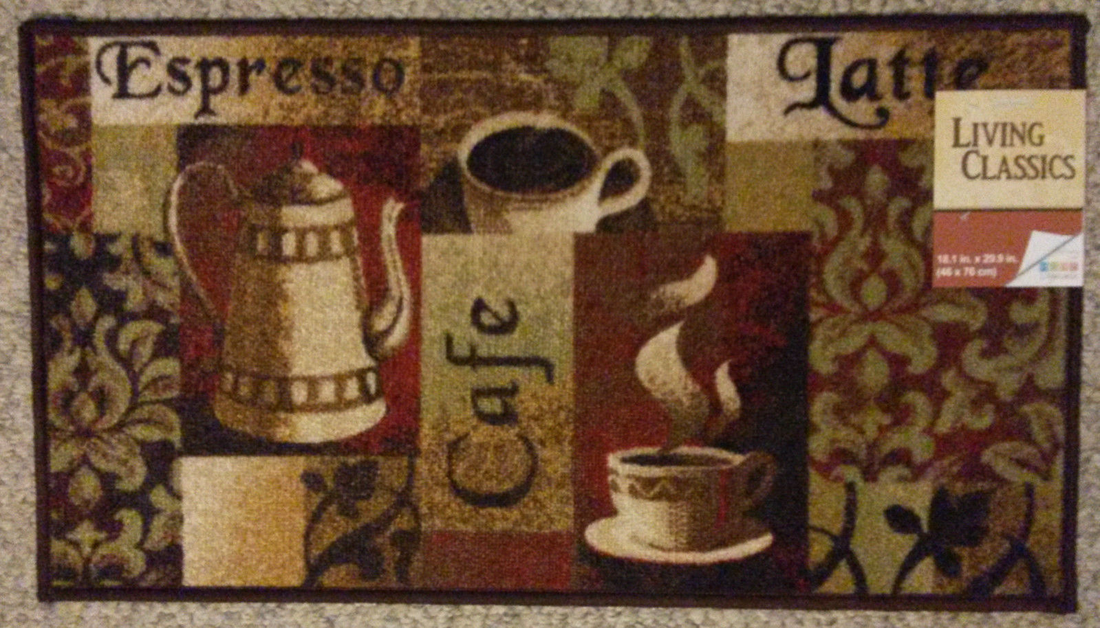 Coffee Cafe Theme Kitchen Accent Rug Mat Brown Latte