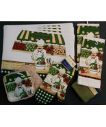 Fat Chef Kitchen Set 12-pc Placemats Towels Mitt Potholders Love to Cook... - $21.99