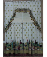 WINE BOTTLE CURTAINS 3-pc Swag + 2 Tiers Vineyard Grapes Leaves NEW - $15.99