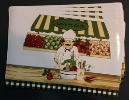 FAT CHEF PLACEMATS 4-pc Set Vinyl Farmer Market Vegetables Love to Cook NEW - $14.99