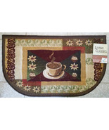 "KITCHEN SLICE RUG Coffee and Cupcakes 18""x30"" Non-Skid Mat Brown Cafe NEW - $16.95"