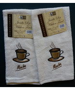 COFFEE Theme KITCHEN TOWELS Set of 2 Plush Velour Embroidered Mocha Cafe... - $7.99
