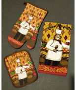 WINE CHEF theme KITCHEN TOWEL SET 3-pc Fat Chef with Oven Mitt Potholder... - $12.99