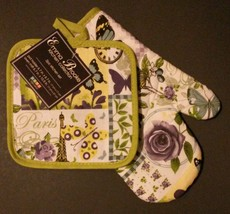PARIS OVEN MITT POTHOLDER SET 2-pc Eiffel Tower Green NEW - $8.99