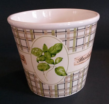 "HERB PLANT POT Container Ceramic 5"" Mediterranean Cottage Herbs Decor NEW - $10.99"