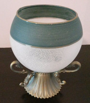 GLASS CANDLE HOLDER Frosted Sphere Green with Brass Metal Base