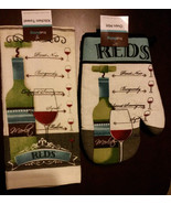 Wine themed Kitchen Set 2-pc Towel Oven Mitt Red Wines Cabernet Merlot NEW - $7.99