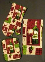 WINE theme KITCHEN TOWEL SET 3 piece Red Green with Oven Mitt Potholder NEW - $11.99