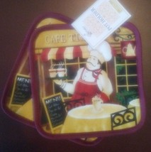 FAT CHEF COFFEE POTHOLDERS Set of 2 Burgundy Red Bistro Cafe Time NEW - $6.99