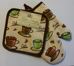 COFFEE Theme OVEN MITT POTHOLDER SET 2-pc Multi-color Cafe Cups Brown NEW - $6.99