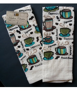 COFFEE theme KITCHEN TOWELS Set of 2 Terry Espresso Cafe Mocha Cups NEW - $7.99