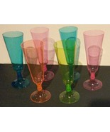 PLASTIC CHAMPAGNE FLUTES 6-pc Stackable Neon Multi-Colored Party Glasses... - $7.99