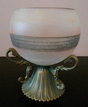 GLASS CANDLE HOLDER Frosted Decorative Sphere with Brass Metal Stand