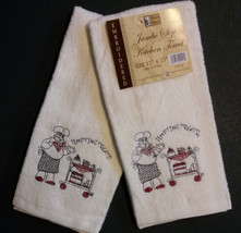 FAT CHEF EMBROIDERED KITCHEN TOWELS Set of 2 Dessert Tempting Treats NEW - $8.99