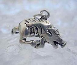 3D Sterling silver Razorback Wild boar swine pig charm - $19.15