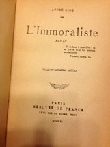 the Immoralist L'Immoraliste French 1921 Antique Book Signature Dedication - $98.97