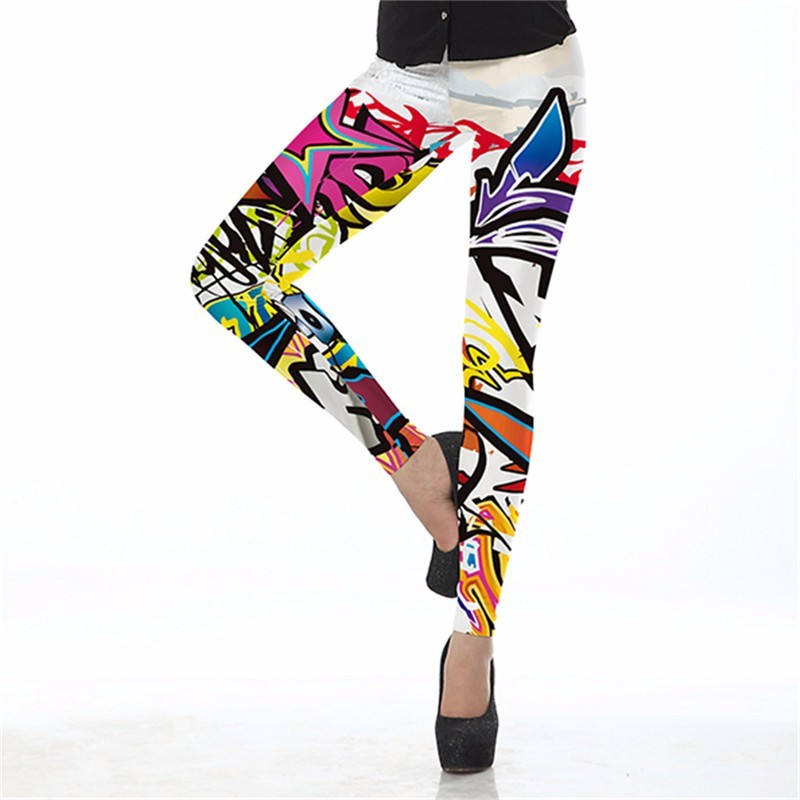 Crazy Graffiti Women's Leggings Yoga Workout Capri Pants