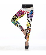 Crazy Graffiti Women's Leggings Yoga Workout Ca... - $18.99