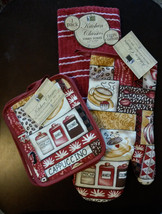 CAPPUCCINO KITCHEN SET 4-pc Coffee theme Oven Mitt Pot holders Towel Red... - $11.99