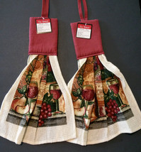 HANGING KITCHEN TOWELS Wine theme Set of 2 Red Wine Bottle NEW - $6.99