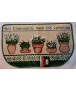 HERBS Theme KITCHEN RUG Mat Green Herb Garden Basil Lavender NEW - $14.99