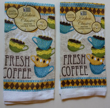 FRESH COFFEE TOWELS Set of 2 Cafe Cups Terry Cotton Cafe Bistro NEW - $7.99