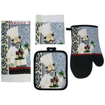 FAT COOK KITCHEN SET 7pc Towels Mitt Potholders Cloth Wine Cellar Chef B... - $16.99