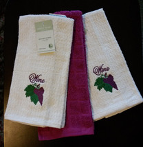 WINE theme KITCHEN TOWELS Set of 3 Embroidered Grapes Purple NEW - $10.99
