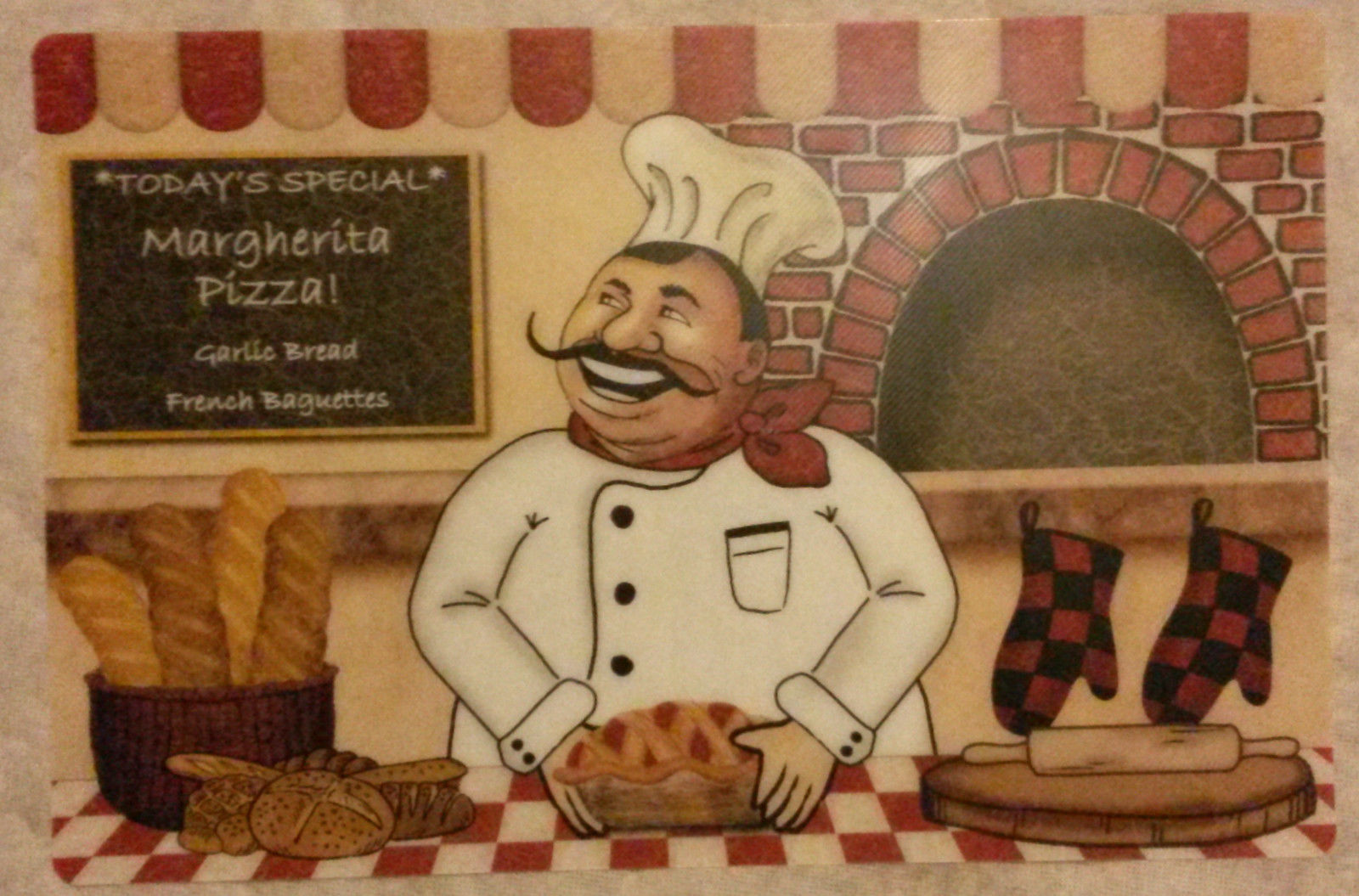 FAT CHEF Placemats Set of 4 Plastic Italian Cook Margherita Pizza Pie Red NEW