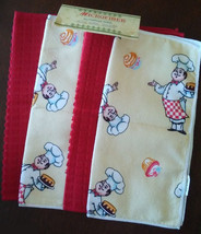 FAT CHEF TOWEL SET of 4 All-Purpose Cloths Dessert Cook with Cupcakes Re... - $9.99