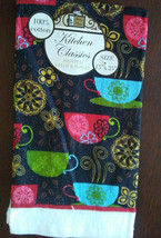 COFFEE THEME KITCHEN TOWEL Colorful Cups Black background NEW - $4.99