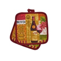 WINE Theme POTHOLDERS Set of 2 Red Wine Bottle Fleur de Lis Pot Holder NEW - $5.99