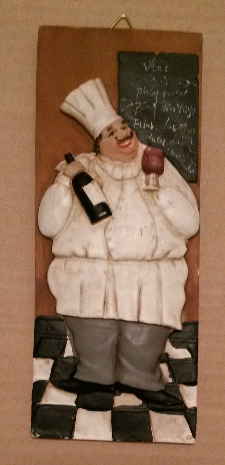 FAT CHEF WALL PLAQUE Ceramic Art Tuscan Wine Bottle Grapes NEW