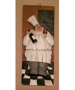 FAT CHEF WALL PLAQUE Ceramic Art Tuscan Wine Bottle Grapes NEW - $11.99