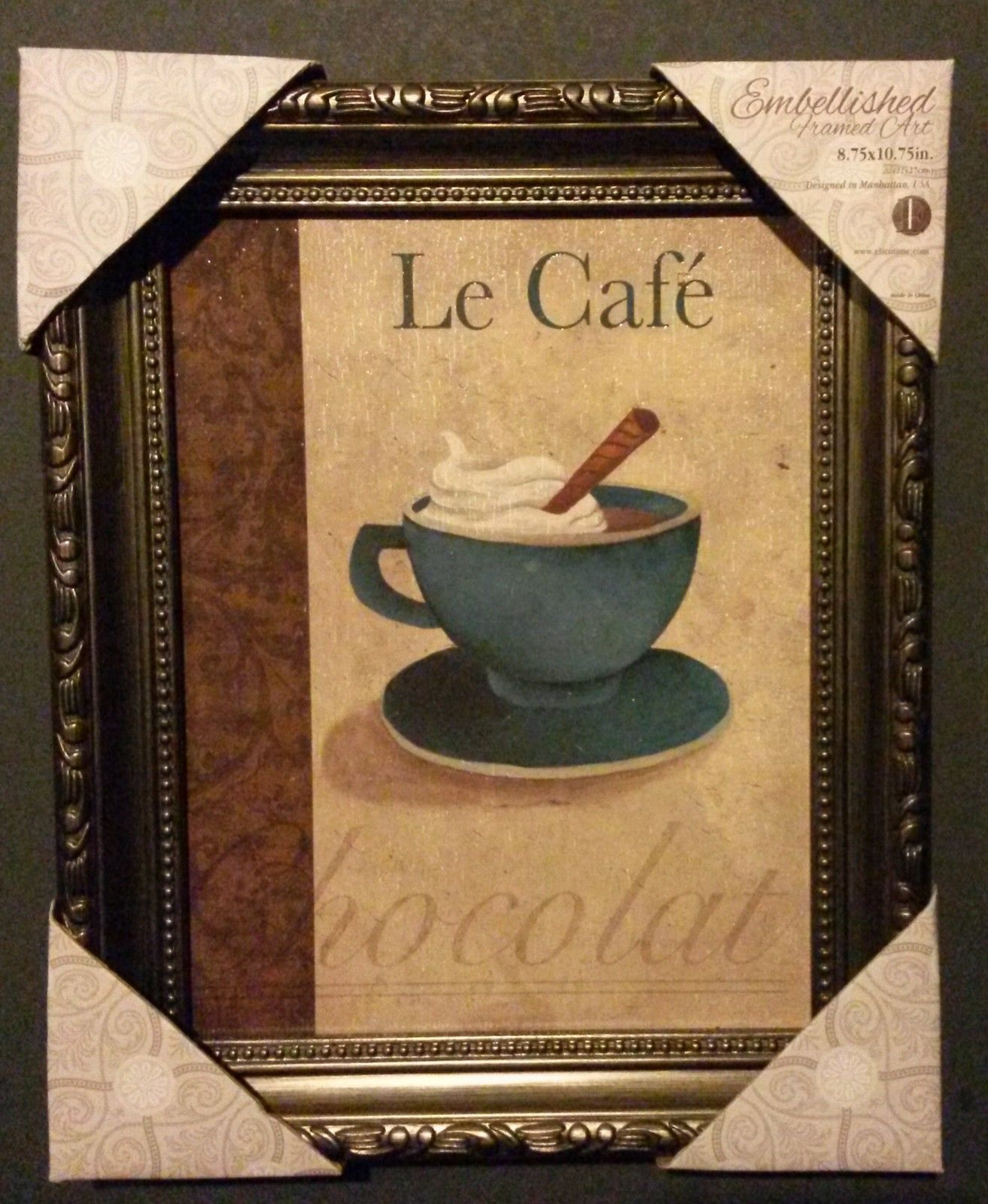 COFFEE Theme FRAMED ART Le Cafe Chocolat French Wall Picture Blue Cup NEW