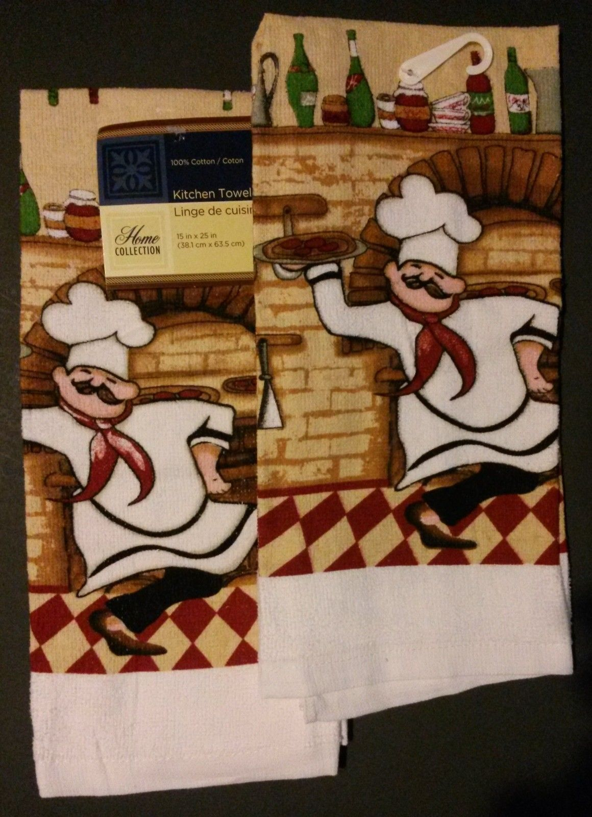 FAT CHEF theme KITCHEN TOWELS Set of 2 Pizza Cook Red Check Wine NEW